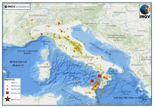 I terremoti registrati e localizzati dalla Rete Sismica Nazionale dell'INGV tra il 1 e il 31 ottobre del 2015.