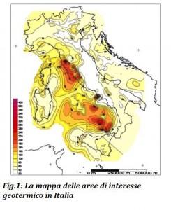 Mappa aree di interesse geotermico in Italia