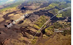 Figura 1 – Ubicazione della sonda radon (vedi freccia gialla) in località Piano Provenzana (1800 m di quota sul mare), a poca distanza da una faglia sismogenetica che il 2-3 aprile 2010 ha innescato un intenso sciame sismico. La stessa faglia borda il Rift-di Nord-Est, una struttura vulcano-tettonica connessa con il condotto eruttivo centrale dell'Etna e sede di frequenti eruzioni laterali. Foto di M. Neri.