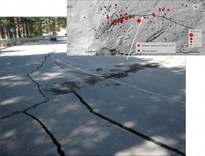 """Figura 2 – Fagliazione co-sismica della strada """"Mareneve"""" avvenuta nel corso dello sciame sismico del 2-3 aprile 2010. Il segmento più occidentale di questa faglia dista poche decine di metri dalla sonda radon installata a Piano Provenzana. In occasione dello sciame sismico la sonda radon ha registrato valori anomali a partire da alcune settimane prima dello sciame. Foto di M. Neri. Piano Provenzana. In occasione dello sciame sismico la sonda radon ha registrato valori anomali a partire da alcune settimane prima dello sciame. Foto di M. Neri."""