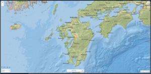 Figura 2: L'epicentro del terremoto nell'Isola di Kyushu (M 7.0) del 15 aprile (fonte http://earthquake.usgs.gov)