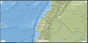 Figura 5: L'epicentro del terremoto del 16 aprile in Ecuador (fonte http://earthquake.usgs.gov)