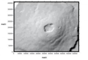 figura 1: Marte, Vulcano Monte Olimpo, elaborazione ottenuta dal FILE MOLA Pedr_222E231E_15N22N
