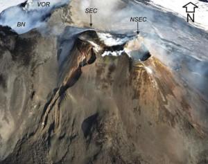 Figura 1 – Visione aerea da Sud dell'area craterica sommitale dell'Etna. In primo piano, il Nuovo Cratere di Sud-Est (NSEC) accresciutosi recentemente sulla base orientale del più vecchio Cratere di Sud-Est (SEC). In alto a sinistra, i crateri Voragine (VOR) e Bocca Nuova (BN). Foto di Marco Neri.
