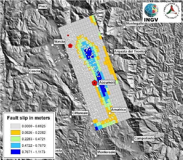 Localizzazione preliminare del piano di faglia che ha generato il terremoto di Amatrice. Il rettangolo rappresenta la proiezione in superficie del piano di frattura, i colori indicano la quantità di scorrimento avvenuto durante la frattura (valori in metri). Sono mostrati anche i due eventi maggiori della sequenza al 25/8 (pentagoni rossi) e tutte le repliche fino al 25/8 (cerchi bianchi).
