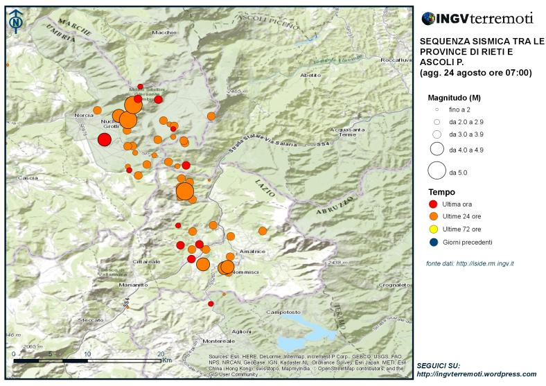 Distribuzione della sequenza sismica 24 Agosto 2016 - INGV
