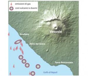 Fig.2 Carta schematica delle emissioni gassose e dei centri eruttivi scoperti nel corso della campagna oceanografica SAFE2014.