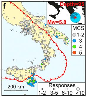 Mappa delle percezioni di un terremoto in Grecia. In rosso il confine tra la placca africana e quella europea