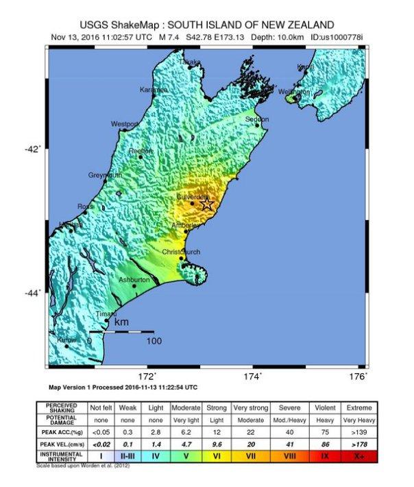 Mappa di scuotimento stimata dall'U.S. Geological Survey