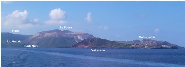 Fig. 6 - Panorama dell'isola di Vulcano da nordest. In primo piano Vulcanello attivo fino al 1550 circa, a ovest Monte Lentia, costituito da vari duomi lavici di composizione riolitico-trachitica. Al centro La Fossa sede dell'attività del 1888-1890. (Foto di Guglielmo Manitta)