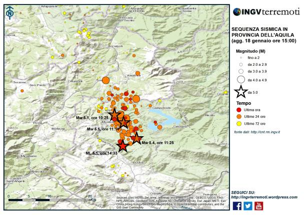 La sequenza sismica nella provincia dell'Aquila aggiornata alle ore 15:00.