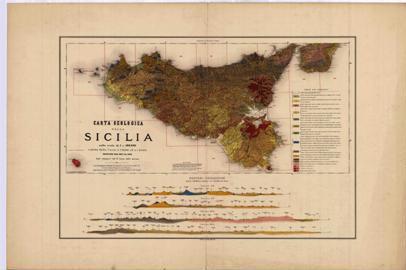 Carta geologica della Sicilia a scala 1:500.000 che riassume le informazioni contenute nei 27 fogli realizzati tra il 1877 e il 1882 a scala 1:100.000.