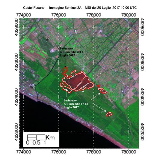 Figura 3 - Immagine Sentinel 2A - MSI in falsi colori nelle bande SWIR, NIR, e Red edge con risoluzione 20m/px acquisita da Sentinel 2A–MSI tre giorni dopo l'incendio iniziato il 17 luglio. La linea bianca indica il perimetro derivato dal Sentinel 2A-dNBR mentre la linea rossa quello derivato utilizzando Landsat 8–dNBR ad una risoluzione di 30m. Quest'ultimo evidenzia anche l'area percorsa dall'incendio del 21 luglio 2017.