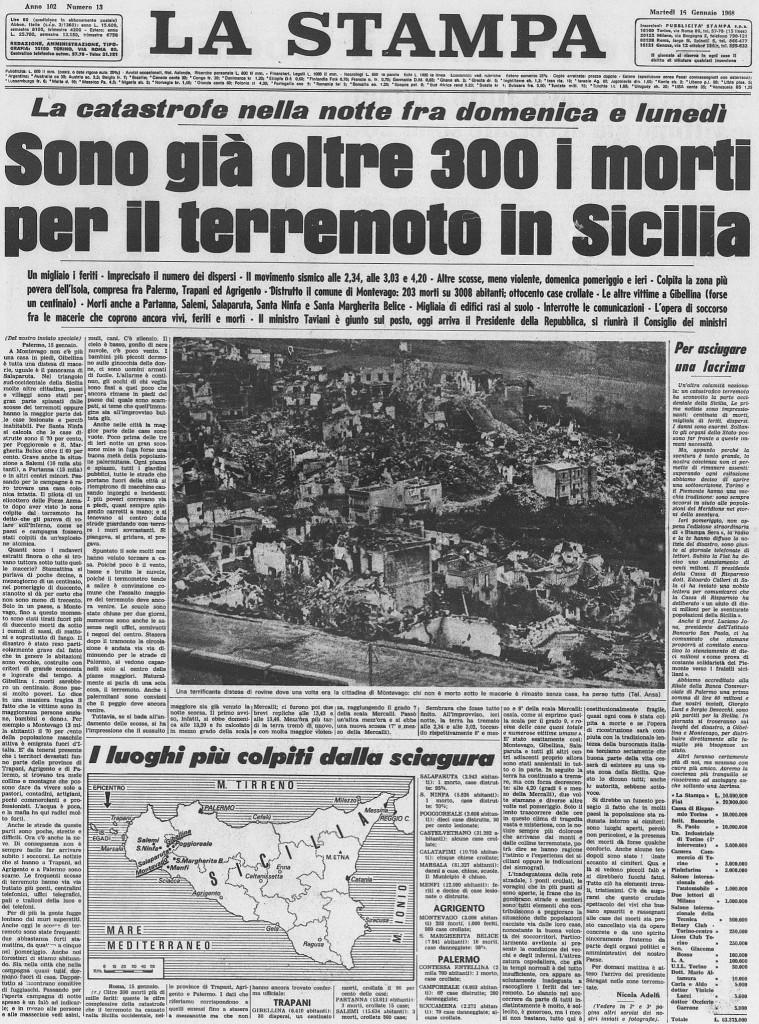 Terremoto del Belice: prima pagina de ''la stampa'' del 16 gennaio 1968