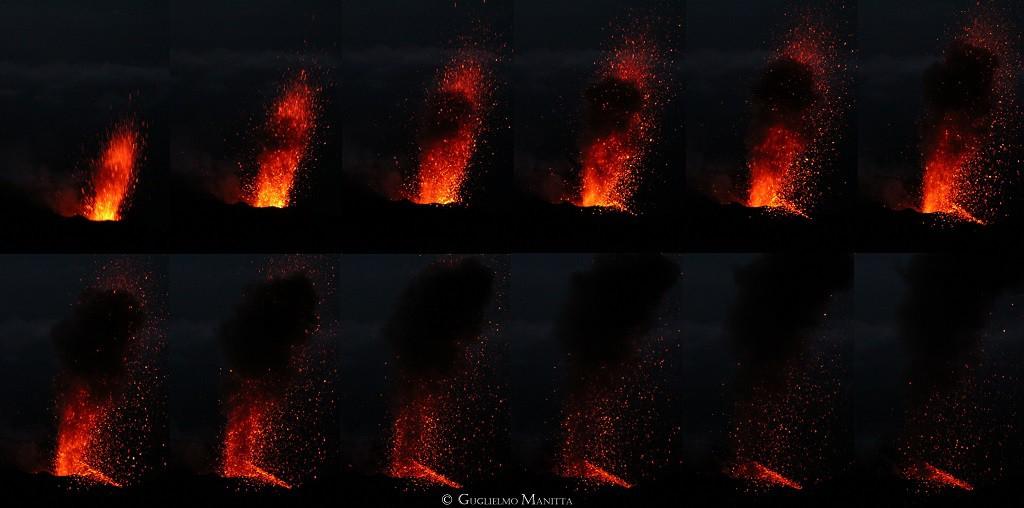 Sequenza fotografica di un'esplosione dello Stromboli (foto Guglielmo Manitta)
