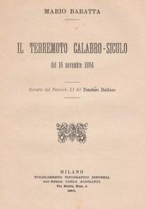 Frontespizio della relazione sul terremoto calabro del 1894 (collezione privata)