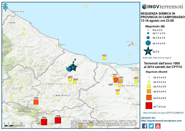 Terremoti dall'anno 1000 al 2014 di magnitudo Mw>=4.0 estratti dal Catalogo Parametrico dei Terremoti Italiani, CPTI15. In blu la sismicità dal 13 al 16 agosto.