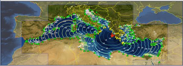 Mappa con epicentro del terremoto (stella rossa), tempi di arrivo sulle coste e livelli di allerta ai mareografi (triangoli colorati dal rosso)