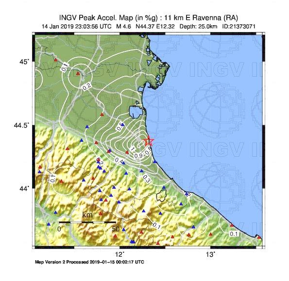 Mappa di scuotimento: accelerazione sisma del 15 gennaio 2019 - da INGV