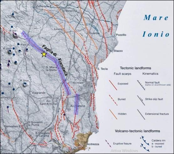 Immagine 1 - Dettaglio delle faglie attive nel basso versante sud-orientale dell'Etna (da Azzaro et al., 2012). In viola è evidenziata l'area in cui il rilievo geologico effettuato da EMERGEO dal 26/12/2018 al 18/01/2019 ha evidenziato fagliazione superficiale. La stella gialla rappresenta l'epicentro del terremoto.